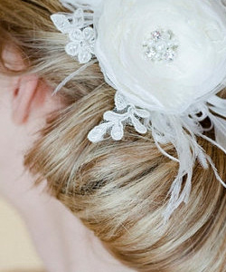 feather bow - wedding hair accessories