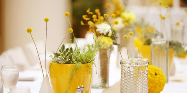 yellow centerpiece wedding reception