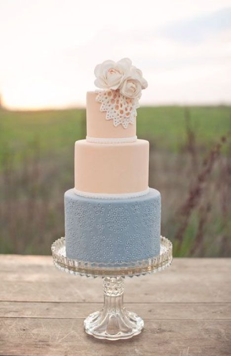 blush and dusty blue wedding cake