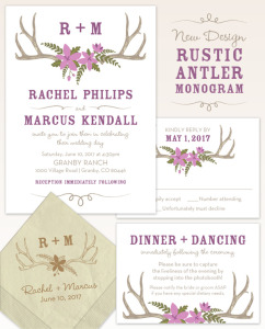Rustic Antler Monogram Wedding Stationery Design from The American Wedding