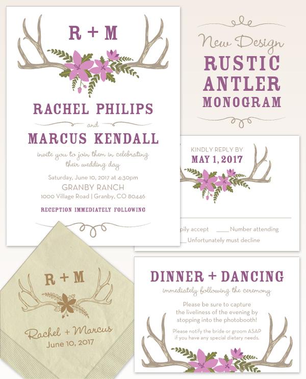 Rustic Antler Monogram Wedding Invitation Design
