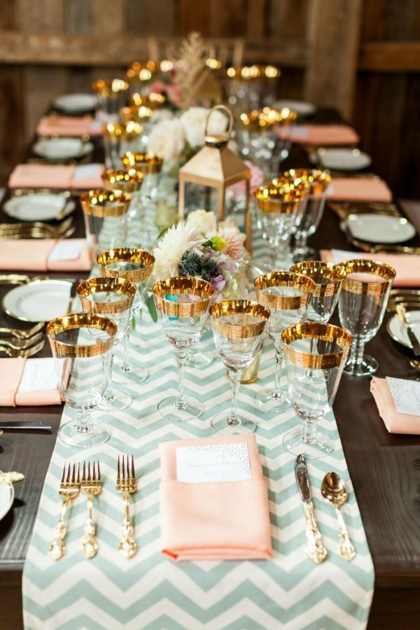 Blush Pink and Gold with Chevron Reception Table