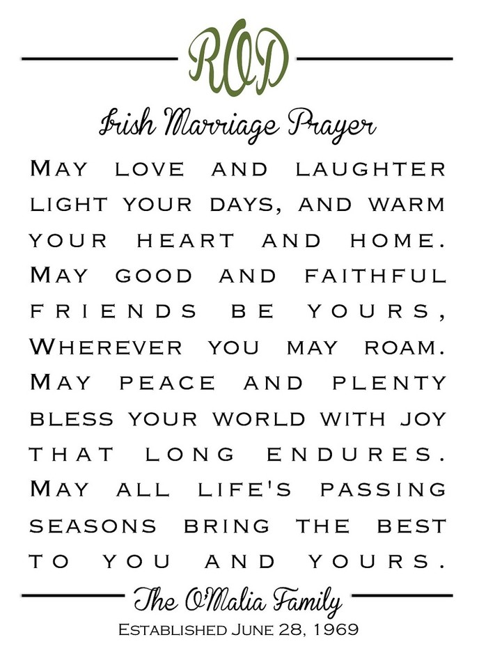 Beautiful Irish Wedding Blessing Prayer Gallery - Styles & Ideas ...
