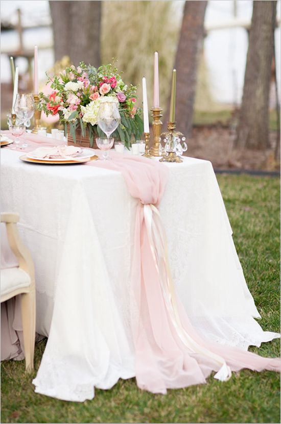 Romantic Blush Pink and Gold Table Setting