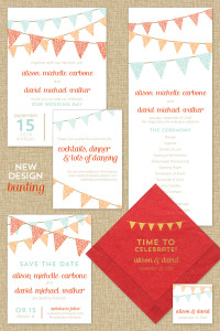 Bunting Wedding Invitation Suite