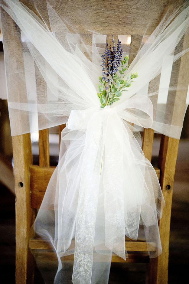 DIY Lavender and Tulle Wrapped Chairs