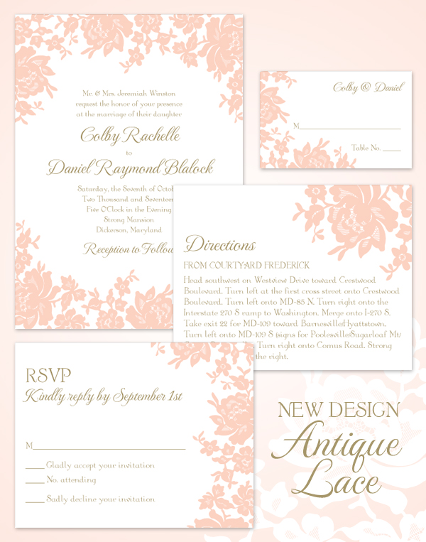 Antique Lace Wedding Invitation Suite