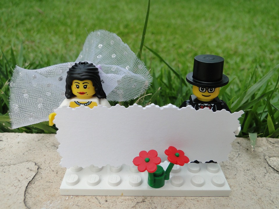 LEGO cake topper couple