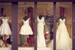 Window with wedding dresses