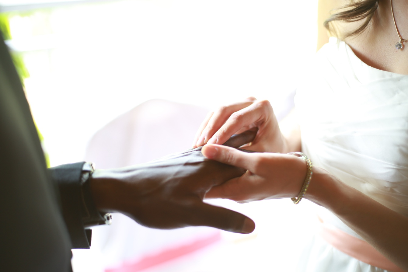 Woman putting ring on mans finger