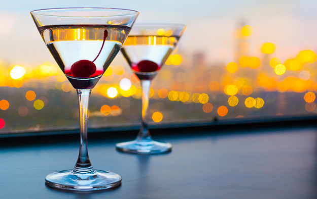pair of martinis on balcony