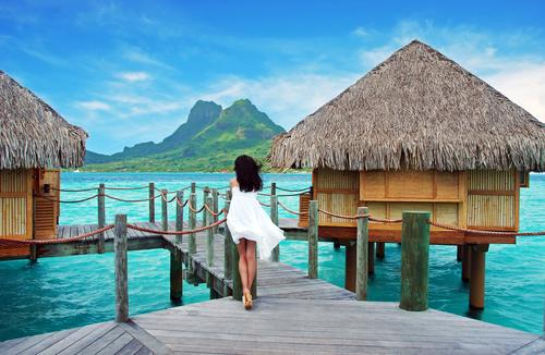 Walking on docks in Bora Bora