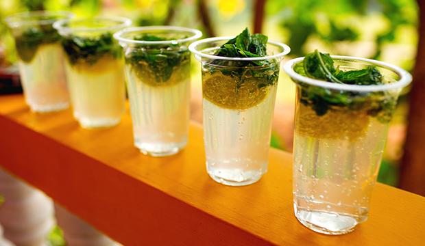 cocktails on bar for serving
