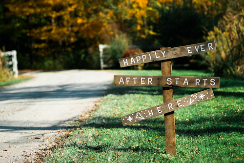 Wedding sign says happily ever after starts here
