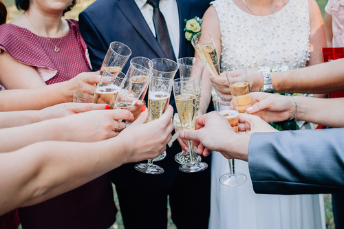 drinking champagne in a wedding party