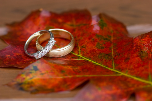 wedding rings autumn leaves