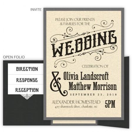 old school wedding invitation