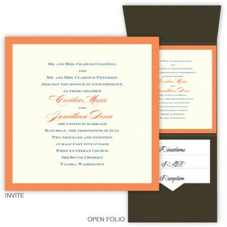 orange brown pocket wedding invitation