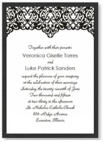 black white wedding invite