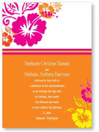 hibiscus wedding invitation