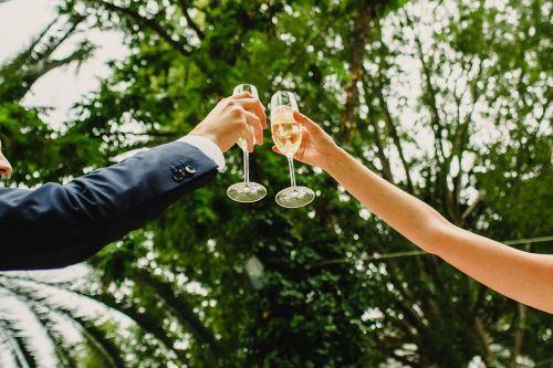 wedding couple toasts drinks