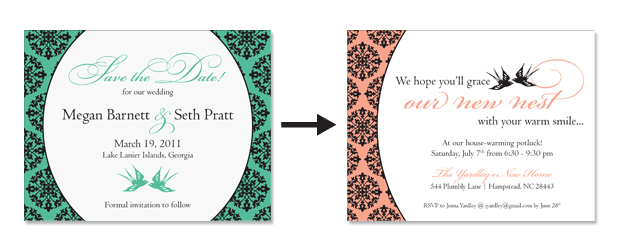 Two Birds save the date and house warming party invitation