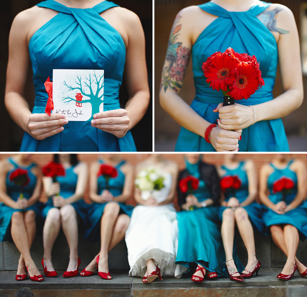 Teal and red accents