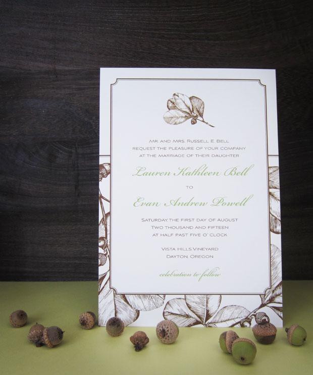 acorn fall wedding invitation design