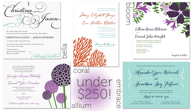 Affordable Wedding Invitations - Bella Script Invitation, Modern floral wedding invitations, and coral beach invitations