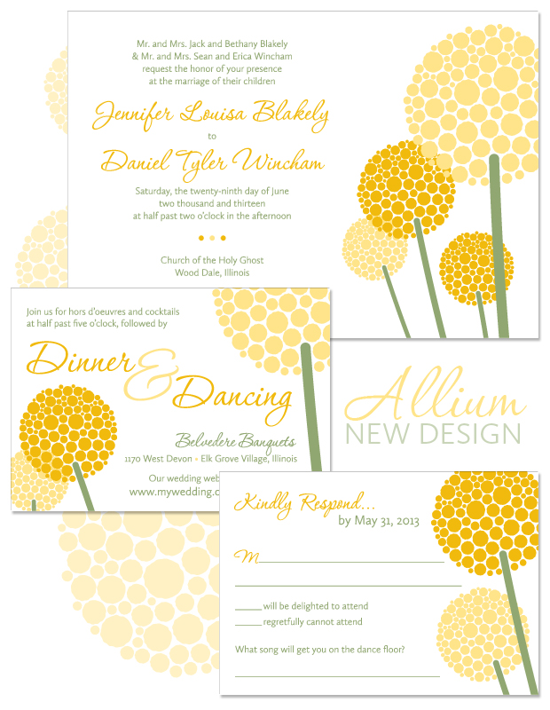 Allium Modern Flower Wedding Invitation