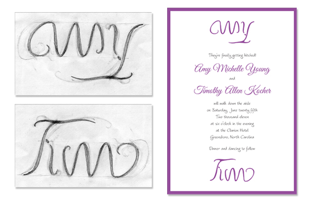 Amy and Tim's invitation featuring an ambigram designed by Amy