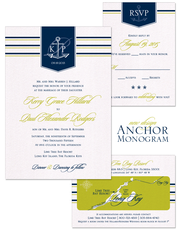 Anchor Monogram Wedding Invitation