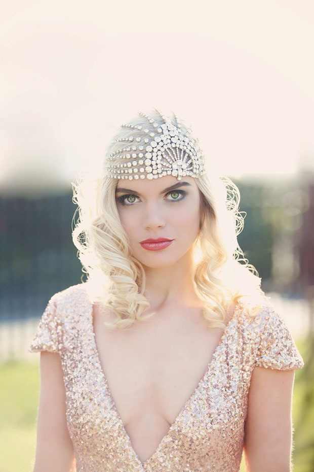 art deco, gatsby inspired, wedding dress and gibson bespoke headpiece