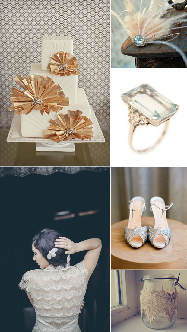 art deco wedding style inspiration board