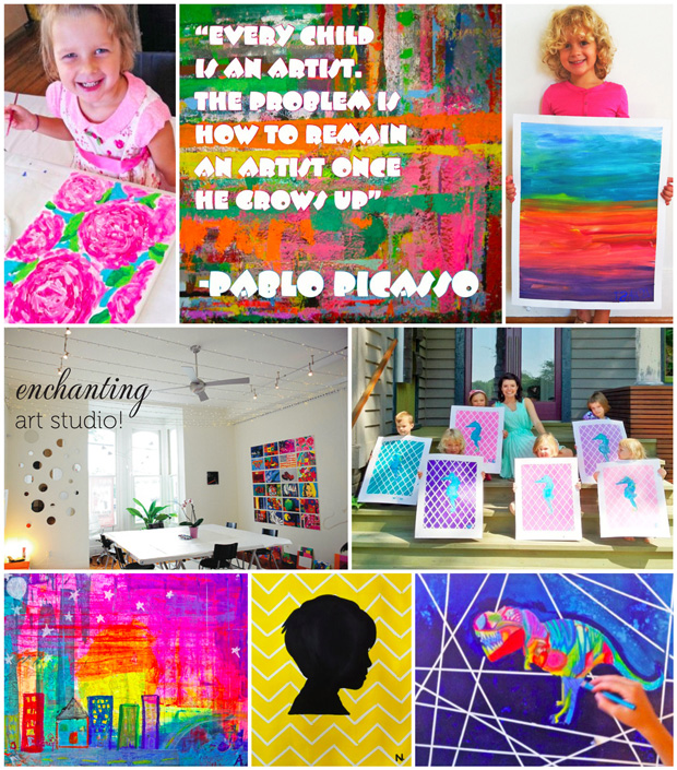 Various art projects for kids taught at the ArtHouse in Raleigh, NC