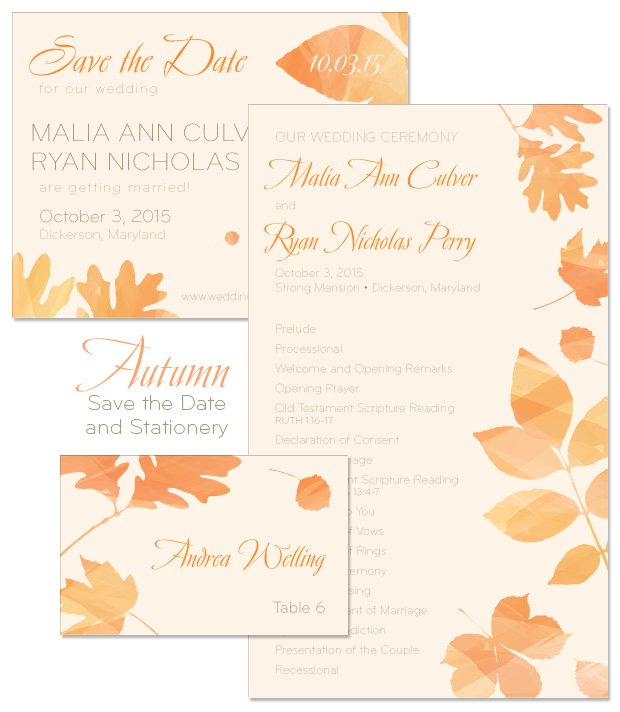 Autumn Save the Date, Program and Place Card