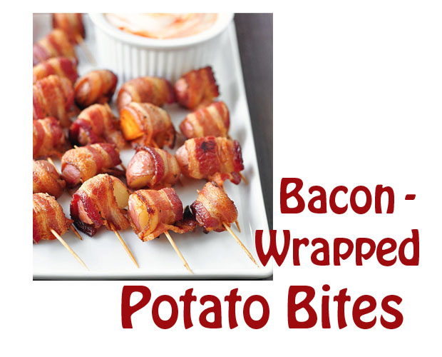 Bacon Wrapped Potato Bites with Spicy Sour Cream Dip