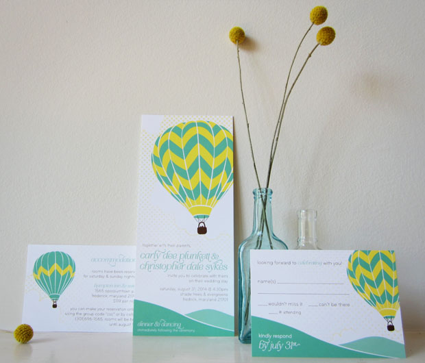 hot air balloon wedding invitation design