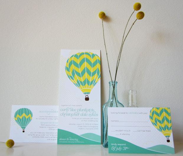 hot air balloon wedding invitation design