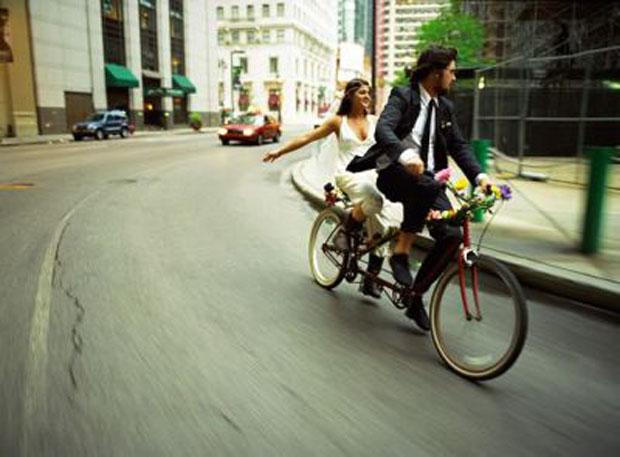 tandem bike wedding getaway