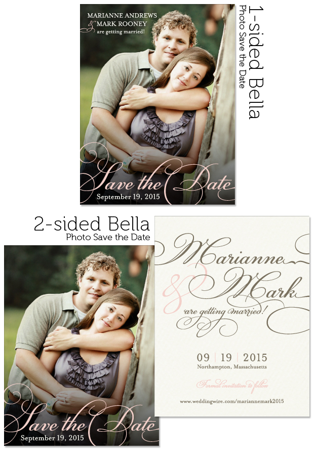 1-sided and 2-sided examples of the Bella Photo Save the Date