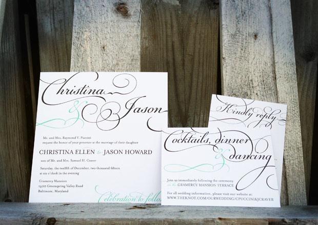 bella square wedding invite in black and white with mermaid on diamond, script font affordable wedding invitation