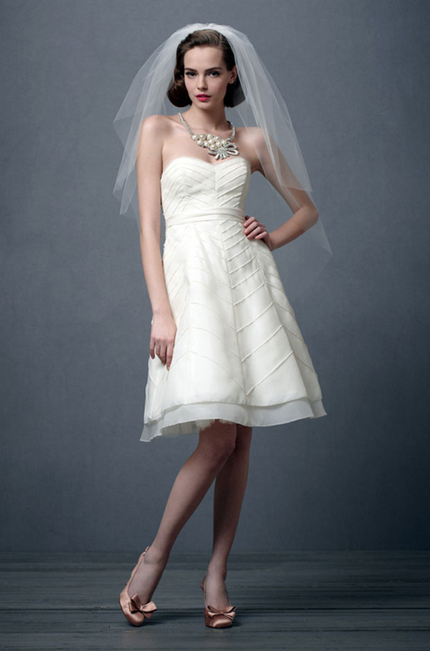 wedding gowns under $1000: bhldn chevron dress