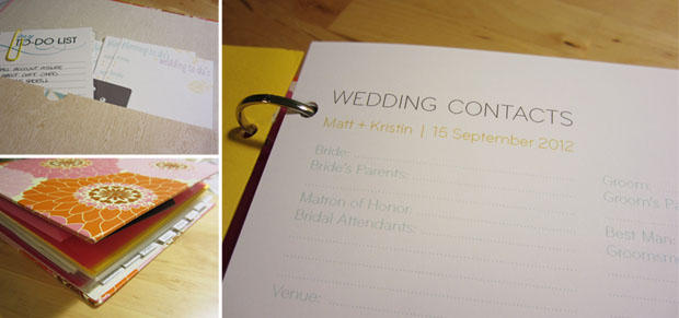 wedding planning binder contact sheet