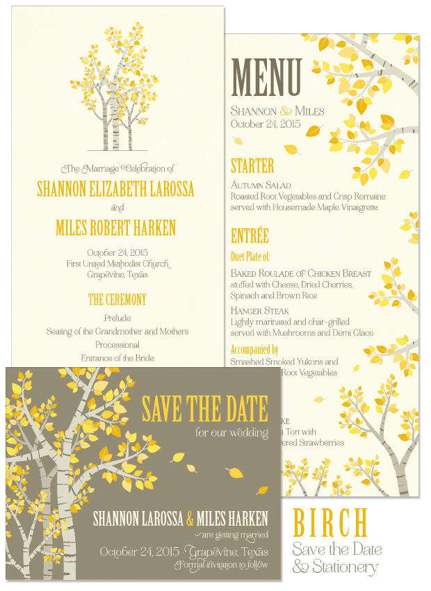 Birch Save the Date, Program and Menu