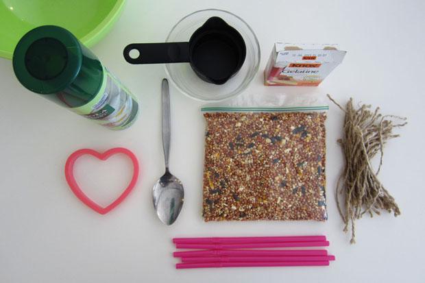 birdseed heart-shaped favors -- supplies