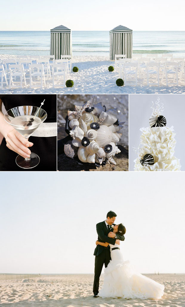 black and white beach wedding