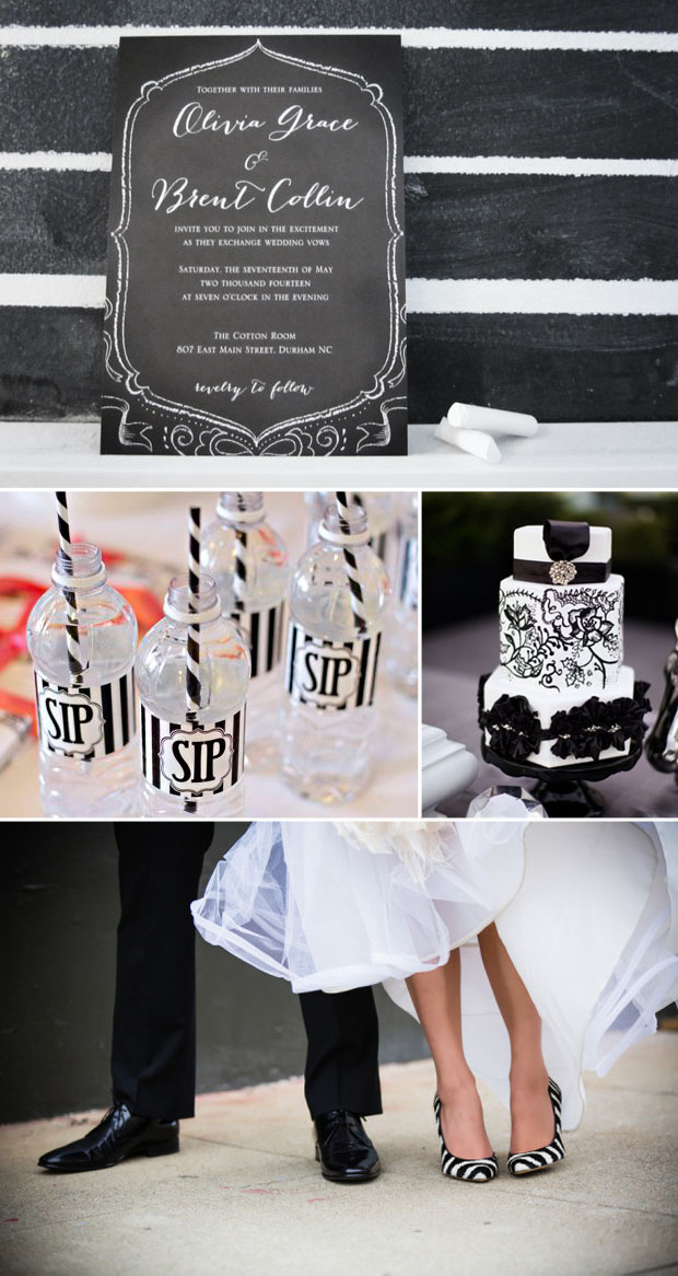 black and white halloween wedding style subtley inspired by tim burton's the nightmare before christmas