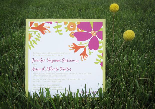 bloom floral motif clutch pocket wedding invite by www.tgkdesigns.com