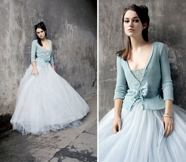 Kiera Knightly in a blue tulle wedding gown